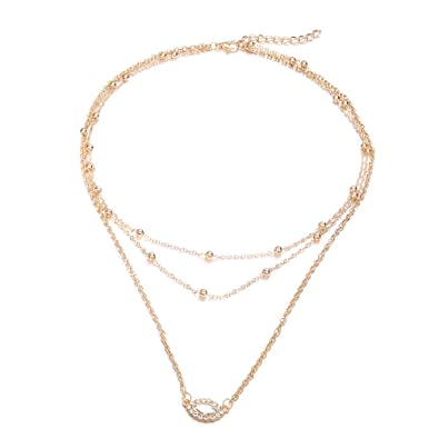 9f47a0780 Image Unavailable. Image not available for. Color: Multilayer necklace  female item eye sweater chain simple popular jewelry