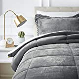 Comforter and Bedding Sets AmazonBasics Micromink Sherpa Comforter Set - Ultra-Soft, Fray-Resistant -  Twin, Charcoal