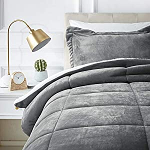 Amazon Basics Ultra-Soft Micromink Sherpa Comforter Bed Set, Twin, Charcoal – 2-Piece
