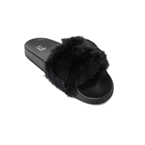 promo code 0a11f e7427 ... wide varieties bba09 4d66d Kali Footwear Women s Flip Flop Faux Fur  Soft Slide Flat Slipper ...