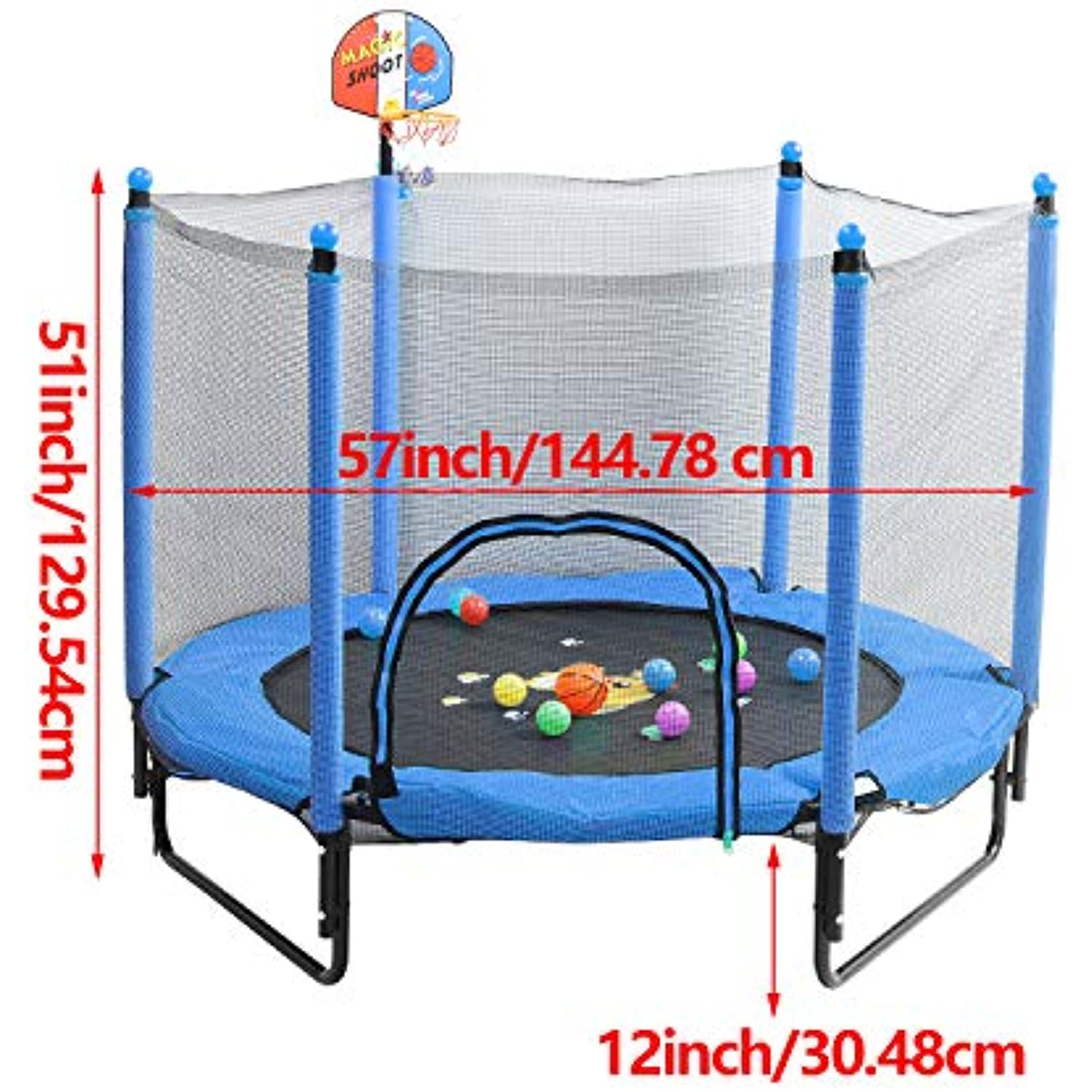 Trampoline for Kids 5 FT Indoor Outdoor Toddler Trampoline Bulit-in Zipper Heavy Duty Steel Frame with Basketball Hoop, Rubber Ball and Safety Net