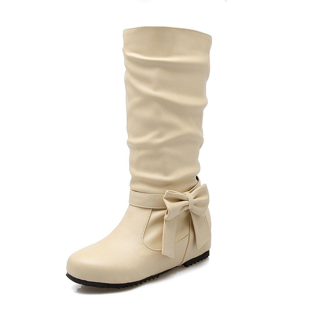 - DYF Chaussures Bottes Femmes Grande Taille à Fond Plat de Couleur Solide nœud Papillon,Le Riz Blanc,50