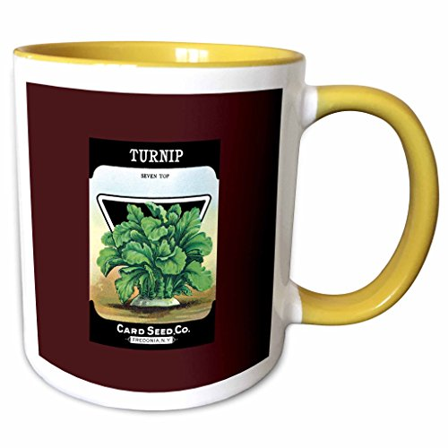 (3dRose BLN Vintage Seed Packet Reproductions - Turnip Seven Top Card Seed Company Vegetable Seed Packet - 15oz Two-Tone Yellow Mug (mug_170951_13))