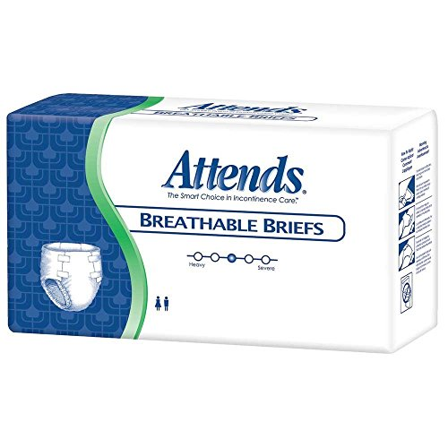 Attends Breathable Fitted Briefs w/Flex Tabs, Size Medium, Case/96 (4 bags/24) ()