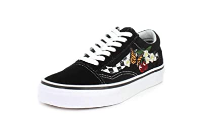 09f197fa02 Vans Unisex Old Skool Checker Floral Black Sneaker - 4.5