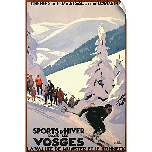 CANVAS ON DEMAND Sports dHiver Dans les Vosges, Vintage Poster Wall Peel Art Print, 12
