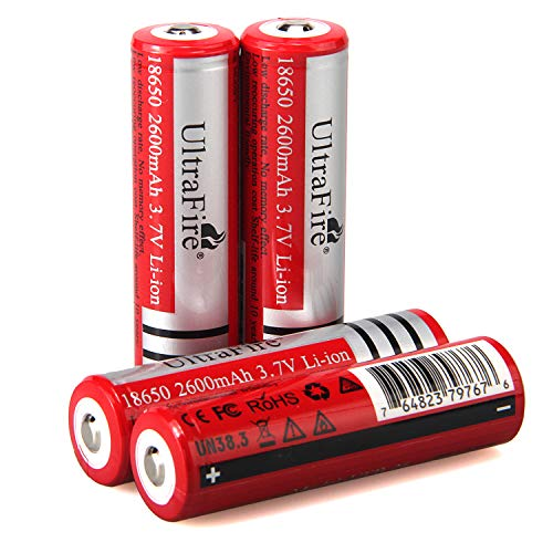 UltraFire 18650 Flashlight Batteries 4PCS UFB26 3.7V 2600mAh Rechargeable Batteries Button Top Cell