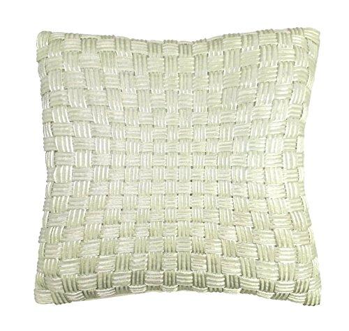 RM43 R&M Industries dba Edie Basketweave Decorative Throw Pillow Cover, 20x20, Cream