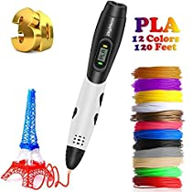3D Pen with LCD Screen, TreasureMax 3D Printing Pen with 1.75mm PLA Filament Pack of 12 Different Colors, Each Color 10 Feet, 3D Print Pen is Perfect Gift for Kids, Adults