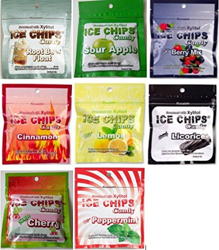 Ice Chips Candy, Xylitol Sweetened, 8 Pouch Assortment: 1 of each flavor!