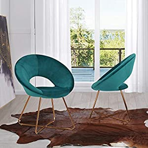 Mid-Century Retro Modern Velvet Upholstered Lounge Chair,Set of 2 Accent Chair for Living Room Mid-Back Support Green Chairs