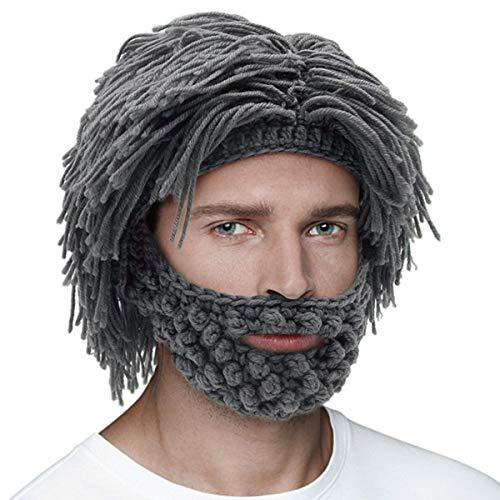 ENVMENST Men Women Knit Bearded Hats Handmade Wig Winter Warm Ski Mask Beanie