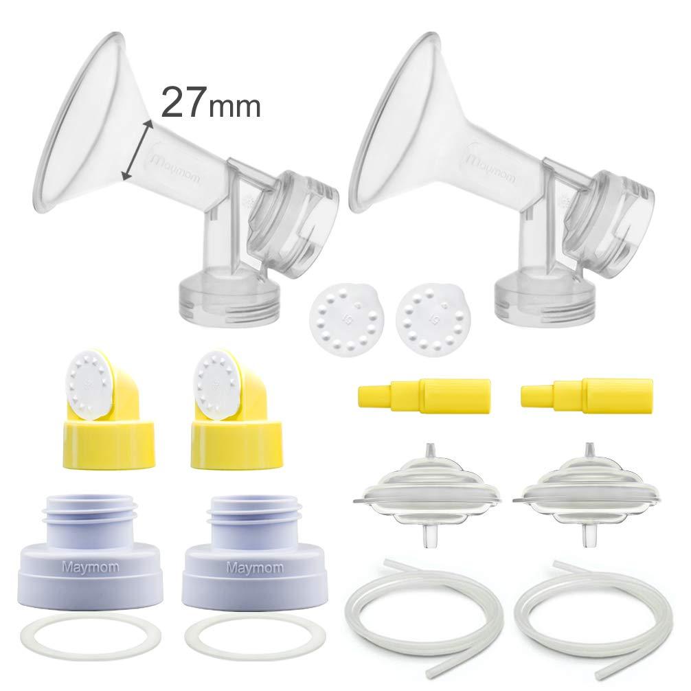 Maymom Pump Parts for Spectra S1, S2, 9 Pump; Incl Flange, Valves, Backflow Protecor, Bottle Changer (Flange 27 mm, Kit n Bottle Converter Tubing)