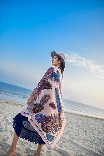 Felix solare Sarong Extra Copricostumi Rosa Wrap Piuma Donna Protezione SiLK Bambine bagno Nappe ragazze Grande e Spiaggia Sciarpe Pareo amp; Pesca Costumi da Stole UV Scialli f8WrwTzqAf