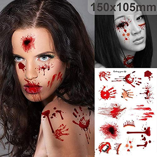 Zombie Scars Tattoos with Fake Scab Bloody Costume Makeup | Terror Wound Scary Blood Injury Sticker | Halloween Decoration Party DIY Decoration (3 Pieces) -
