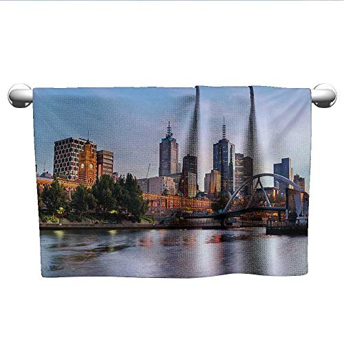 - alisoso City,Sport Towels Early Morning Scenery in Melbourne Australia Famous Yarra River Scenic Pool Gym Towels Orange Green Pale Blue W 28