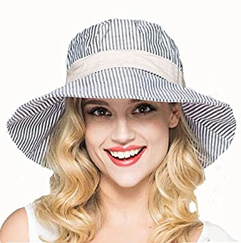 9ff400395f8 Women s Wide Brim Strip Hat Foldable Beach Sunhat Ribbon Bowknot Sun Cap  Fisherman Hat Casual Sun