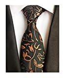Mens Black and Gold Young Woven Silk Ties Fashion Gentleman Dress Nice Neckties