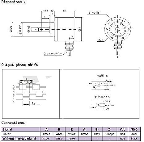 10 mm óptico Incremental Rotary encoder-2048pulse línea de 5 V: Amazon.es: Amazon.es