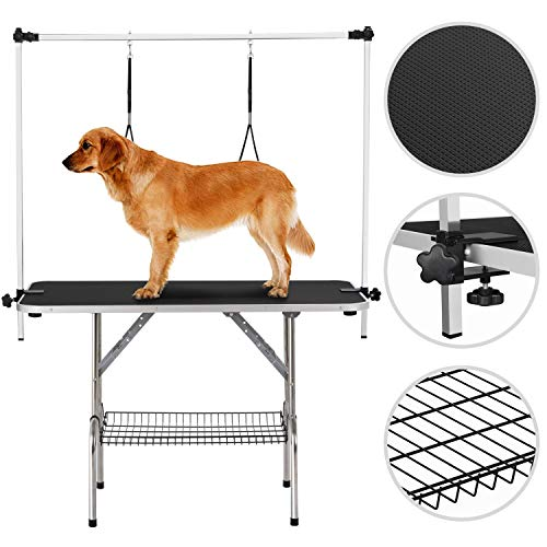 Yaheetech 45″ Pet Grooming Table – Height Adjustable Portable Trimming Table Drying Table w/Basket/Noose Tools Storage Rack Maximum Capacity Up to 330Lb Black