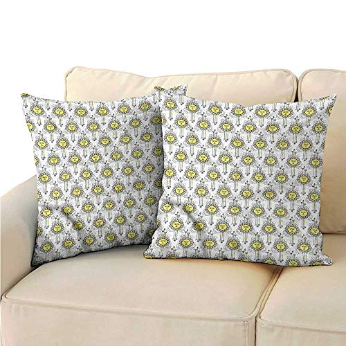 RuppertTextile Tattoo Couple Pillowcase Geometric Sun with Face Protect The Waist W15 x L15