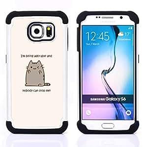 For Samsung Galaxy S6 G9200 - adorable cat cartoon character motivational Dual Layer caso de Shell HUELGA Impacto pata de cabra con im??genes gr??ficas Steam - Funny Shop -