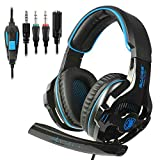 SADES 2018 Newest SA810 Gaming Headset Over Ear Stereo Headphones Bass Gaming Headphones with Noise Isolation Microphone Volume Control for Xbox One PS4 PC Laptop Mac Mobile(Stand Not Included)