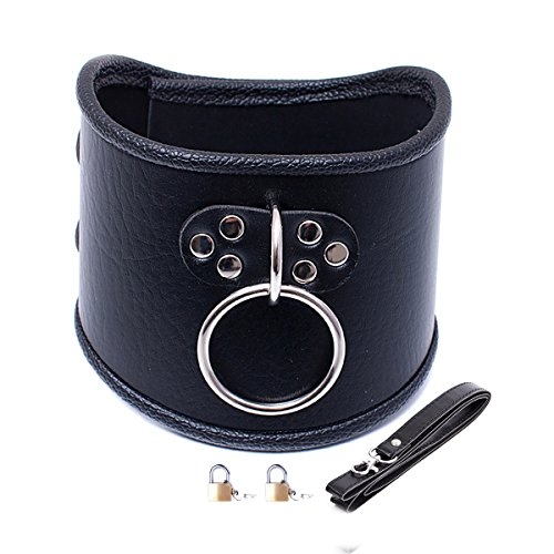 O Ring Choker Collar Black Faux Leather Locking Adjustable Double Neck Support Belt (Pulling Rope,Padlock 2 Pieces)