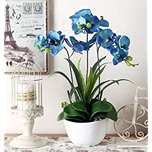 Dreamingces Artificial Flowers Orchid Ceramic Vases Blue Home Decorations For Wedding Bouquet Birthday Bunch Hotel Party Garden 96
