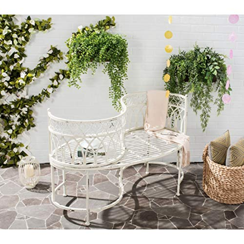 Outdoor Living Rustic Kissing Antique White Iron Bench – 44″ X 24″ 30.8″ Victorian
