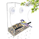 Gray Bunny GB-6895 Clear Window Bird Feeder, Large Wild Birdfeeder Drain Holes, Removable Tray, Super Strong Suction Cups, Transparent Viewing, Covered, High Seed Capacity, Rubber Perch Review