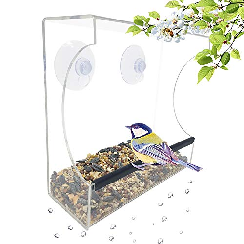Gray Bunny GB-6895 Clear Window Bird Feeder, Large Wild Birdfeeder with Drain Holes, Super Strong Suction Cups, Transparent Viewing, Covered, High Seed Capacity, Rubber Perch