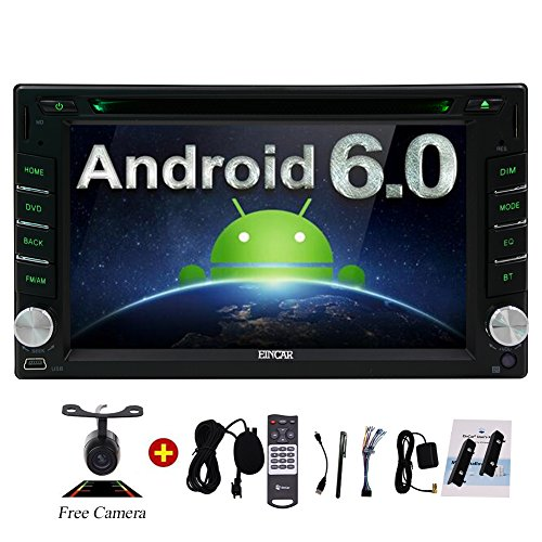 Upgrade Version WIFI Model Quad Core Android 6.0 Double Din Car DVD Player Stereo GPS Navigation for Universal Car with Free Camera External Microphone Remote Control Touch Pen