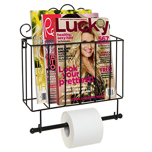 high-quality Black Metal Scrollwork Design Wall Mounted Bathroom Magazine Shelf Basket Rack with Toilet Paper Roll Bar