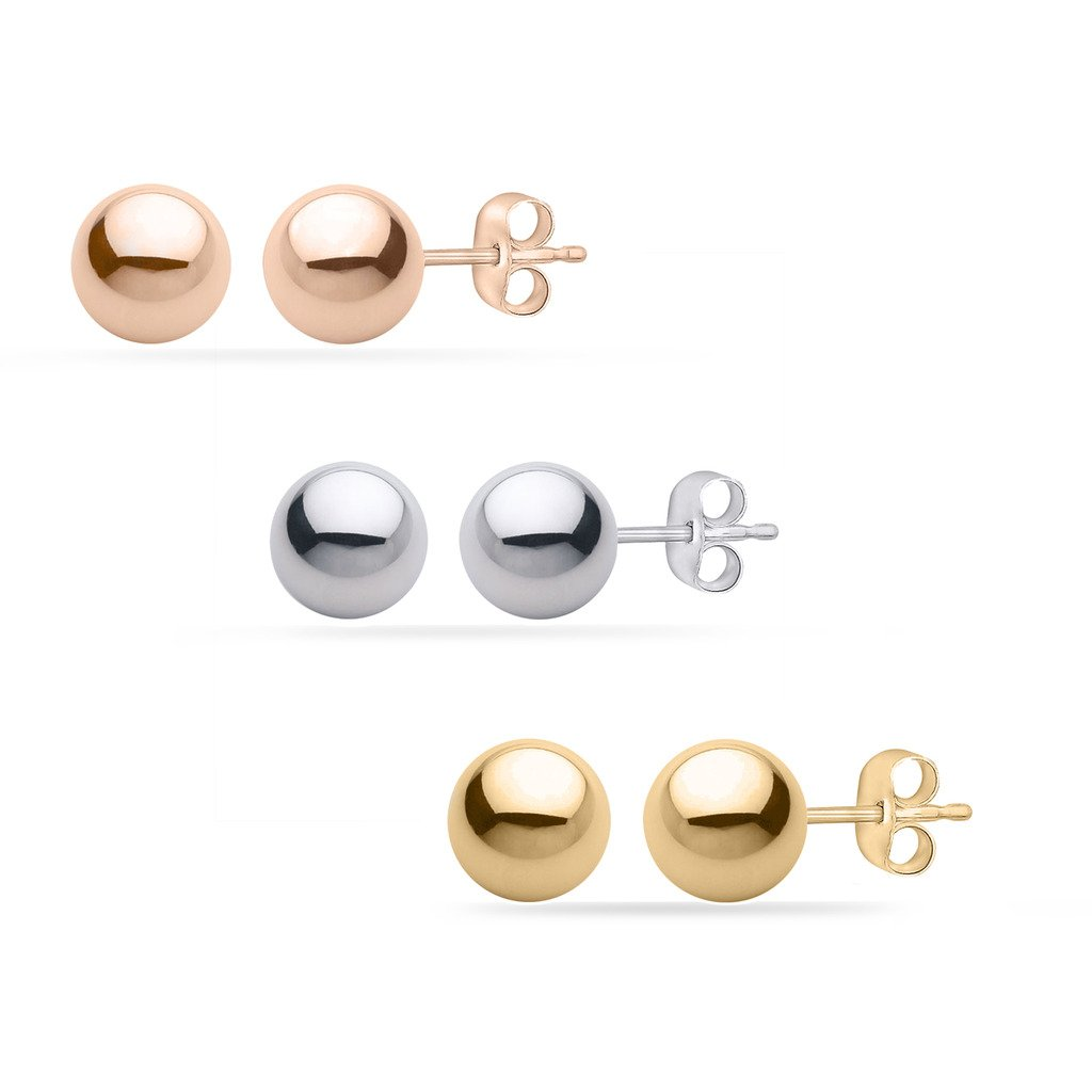 PARIKHS White/Yellow/Rose Gold Ball Earrings High Polished 3MM - 8MM with 14k Gold Pushbacks GBPBR-3MM-14KPC