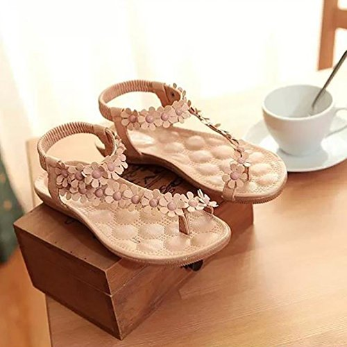 Simple YOUJIA avec De Beige Bohême Chaussures Fleurs Petits Sandales Femmes 2 Plage De OqOFpx1