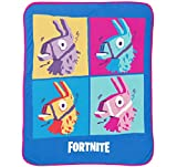 Jay Franco Fortnite Blue Llama Travel Blanket - Measures 40 x 50 inches, Kids Bedding Features Warhol Design - Fade Resistant Super Soft Plush Fleece - (Official Fortnite Product)