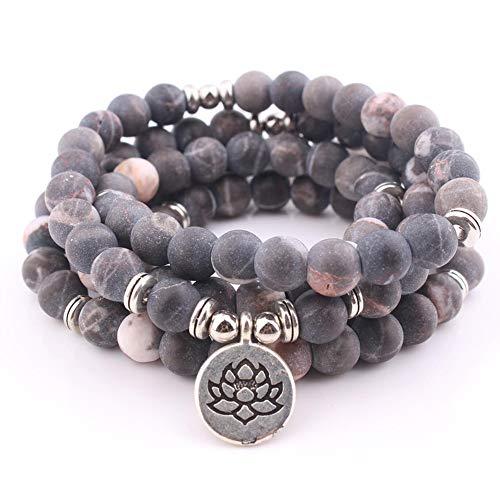 Zozu Women`s bracelet 8 mm Pink zebra natural stone beads Lotus ohm Buddha Charm Yoga chakra Bracelet 108mala necklace dropshipping (Precious Moments Zebra)