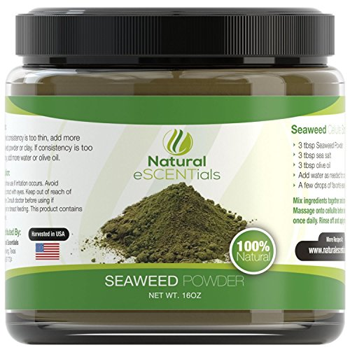 Seaweed Powder - 100% Organic Kelp Powder - Cellulite Treatment - Fresh Norwegian Ascophyllum Nodosum - FREE Recipes Included - Perfect For Body Wraps, Scrubs, Facials - - Soluble Powder Seaweed