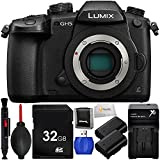 Panasonic Lumix DC-GH5 Mirrorless Camera (Body Only) Includes x2 Extended Life DMW-BLF19 Replacement Batteries + 32GB SD Memory Card + High Speed Card Reader + Lens Cleaning Pen & More!