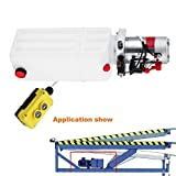 Mophorn Hydraulic Power Unit 10 Quart Pump Double Acting Hydraulic Power 12V DC Plastic Tank Hydraulic Pump Power Unit for Dump Trailer Car Lifting (10 Quart Plastic Double Acting)