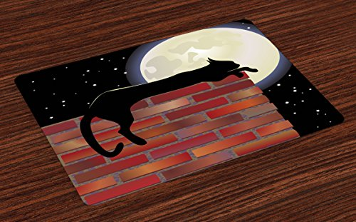Ambesonne Moon Place Mats Set of 4, Cat Silhouette Resting on a Brick Wall in a Starry Night Full Moon Imagery, Washable Fabric Placemats for Dining Room Kitchen Table Decor, Vermilion Black
