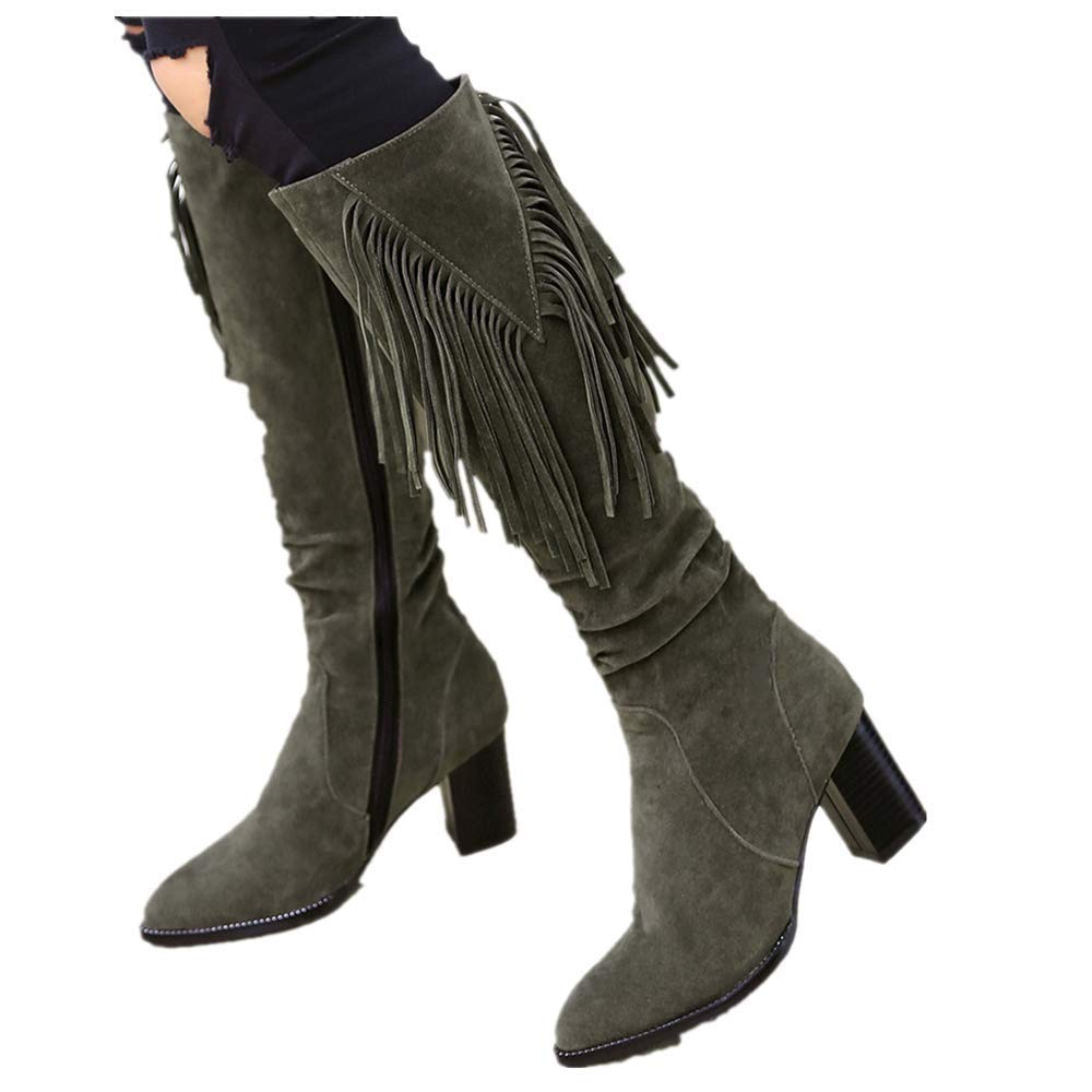 Fringed Over Knee Long Boots for Women Moccasins Fleeces Winter Square Heels Snow Boots (US:9.0, Green) by sweetnice Women Shoes