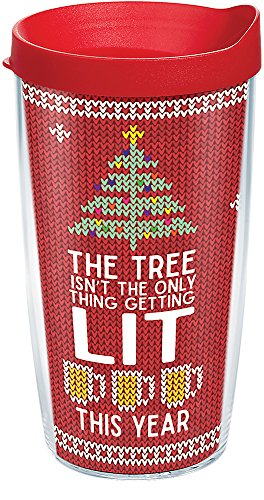 Designs Spirited - Tervis 1272788 Lit Tumbler with Lid, Inspired by ugly holiday sweaters, this fun, spirited design lets friends and family know what youve planned for Christmas vacation. , Red