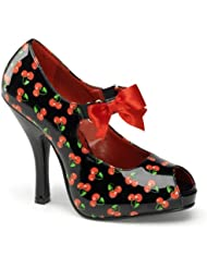 Womens Cherry Print Mary Janes Peep Toe Pumps Red Bow 4 1/2 Inch Black or White