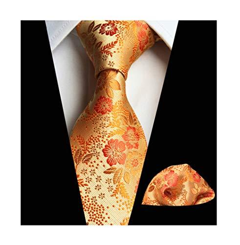- Mens Orange Gloden Yellow Silk Tie Floral Business Novelty Paisley Party Necktie