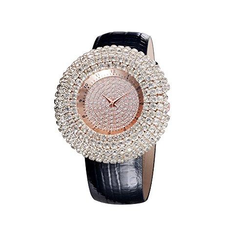 Black Jeweled Ladys Watch - Fashion Fully-jewelled Exaggerated Distinctive Ladies quartz Wrist Watches Gift Black