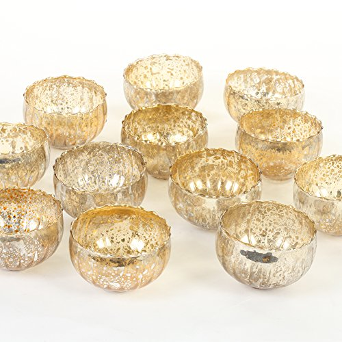 (Koyal Wholesale Vintage Gold Floating Tealight Candle Holders, 12-Pack, Petite Glass Candle Holders for Tealight Candles, Electric Candles, Battery Tealight Candles, Tealight Votives (Gold))