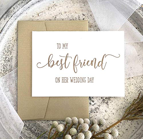To My Best Friend on Your Wedding Day Card Bride Gift Gold Ink