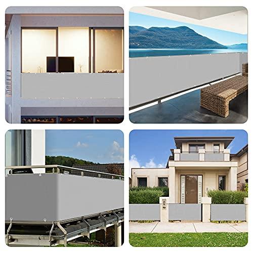 Balkon Sichtschutz, 0,9 x 3m Balkonabdeckung Balkonsichtschutz Balkonverkleidung blickdichte Windschutz und UV-Schutz, mit Ösen, Nylon Kabelbinder und Seil, 100% Schutz der Privatsphäre für Balkon